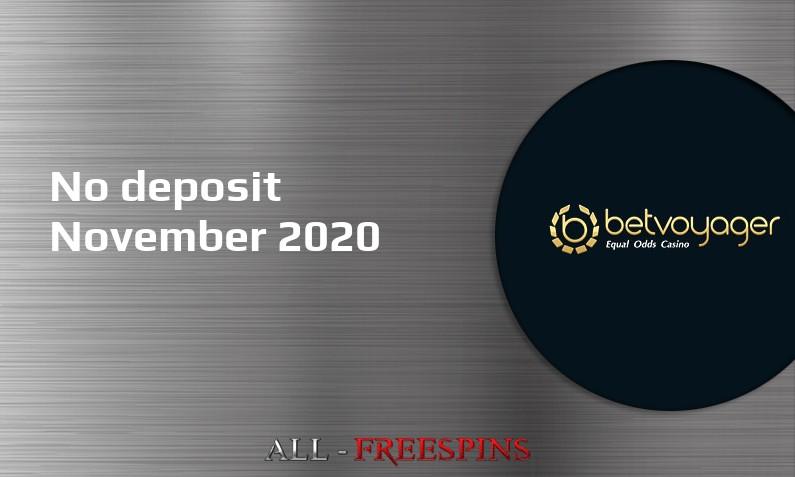 Latest Betvoyager Casino no deposit bonus 25th of November 2020
