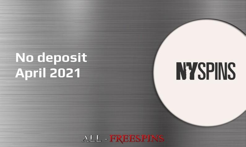 Latest no deposit bonus from NYSpins Casino- 24th of April 2021