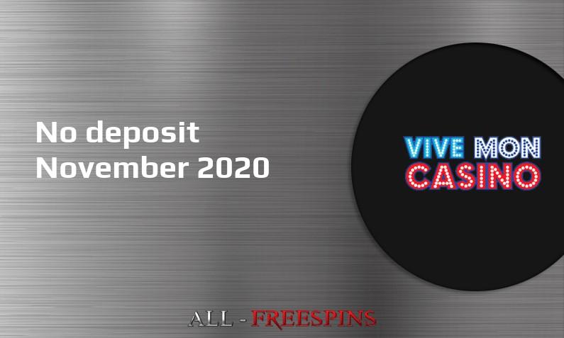 Latest Vive Mon Casino no deposit bonus, today 6th of November 2020